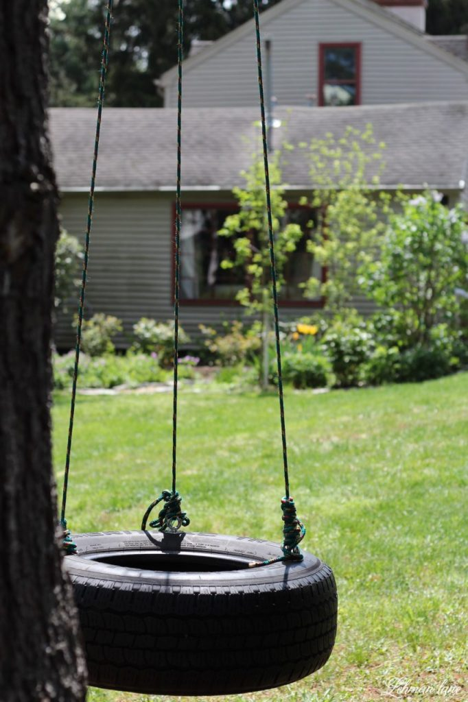 The kids have been bugging us to make a tire swing that 2 people could swing on at once. The tire swing we made was simple to create, inexpensive, and was up in less than an hour!