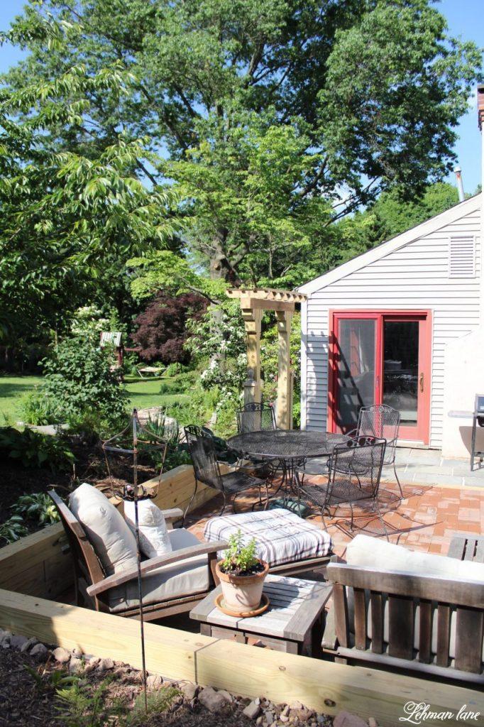 Our New Patio Garden - back of farmhouse
