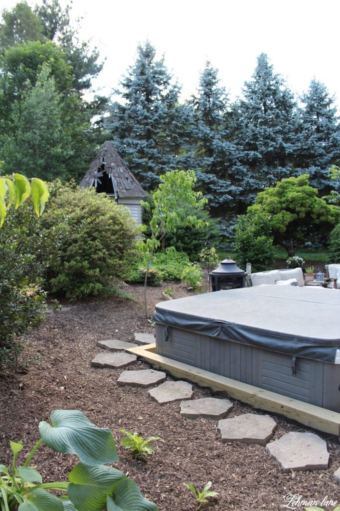 Our New Patio Garden - hot tub stepping stone and kousa dogwood tree