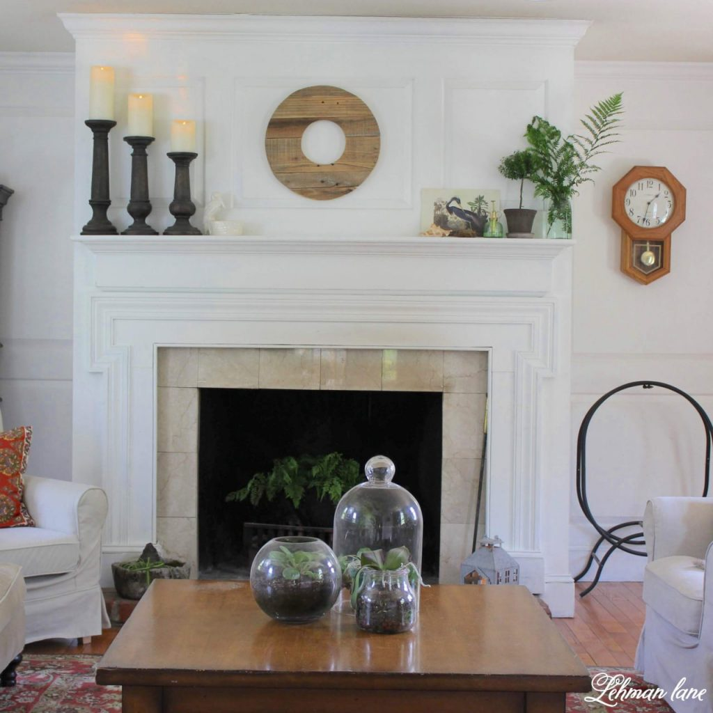Summer Mantel with Greenery - Summer is the time of year my plants go on holiday to our backyard. However, I always bring a few in to add color to my fireplace mantel. I want my summer mantel to be as colorful & green as the yard outside my window. Decorating with greenery can be easy as pie & totally free when it's found in your home garden. Check out my summer mantel below along with even more summertime mantel decorating ideas from my blogging friends! #summermantel http://lehmanlane.net