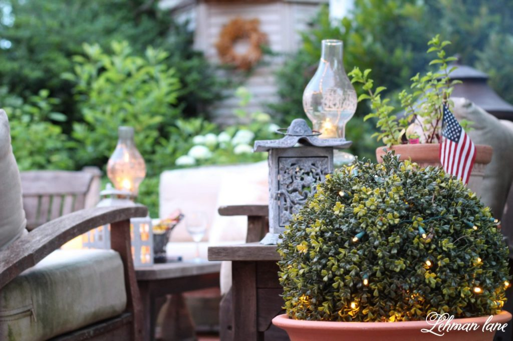 5 Inexpensive Ideas for Outdoor Patio Lights - Today I am sharing my 5 favorite inexpensive ideas for outdoor patio lights including how to hang outdoor string lights to light up your patio, deck or backyard at night. #outdoorlights #patiolights #stringlights http://lehmanlane.net