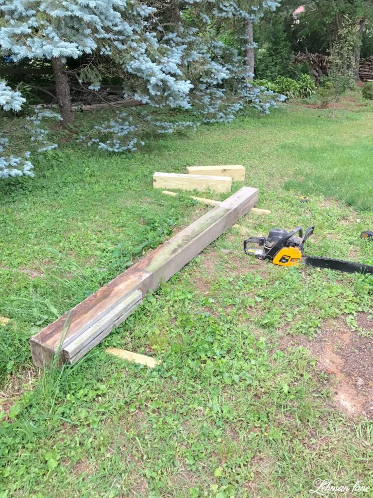 DIY Wooden Arbor - sawing the wood