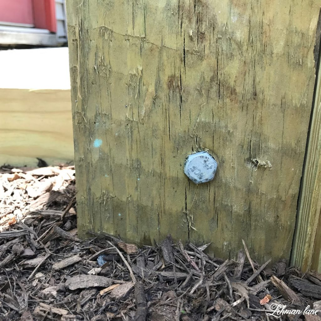DIY Wooden Arbor - lag bolt