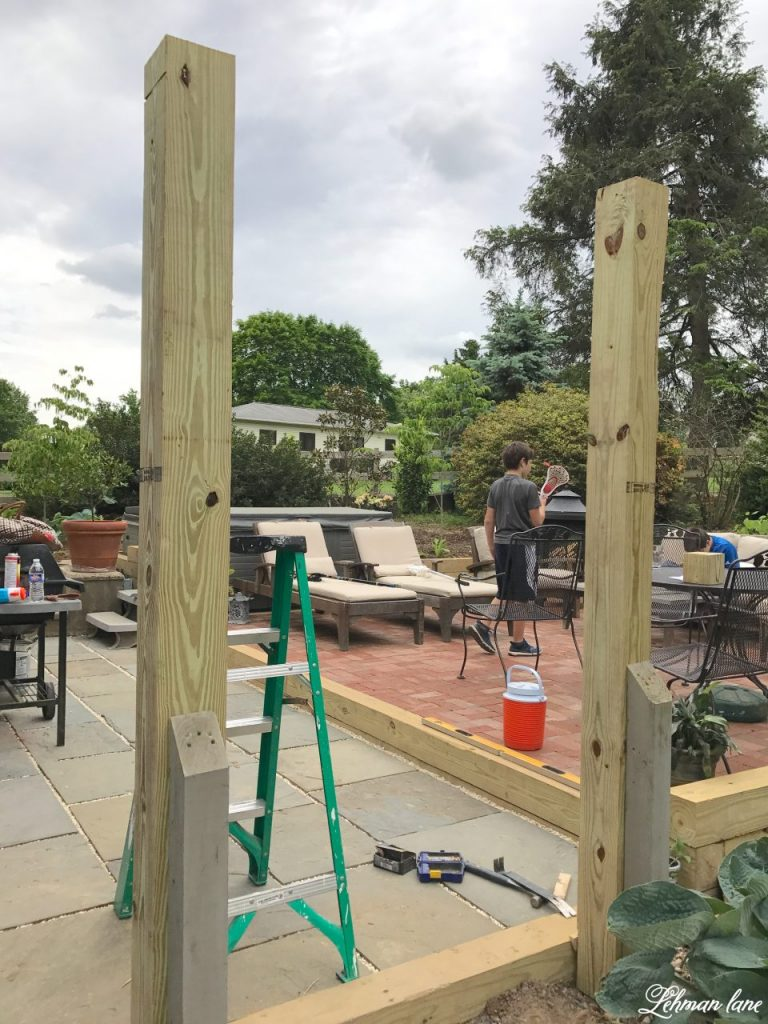 DIY Wooden Arbor - pressure treated posts