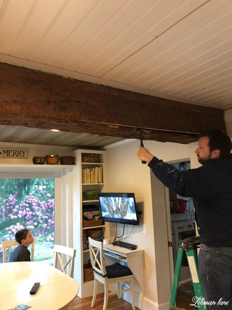 Eat in Kitchen - taking down the faux beams
