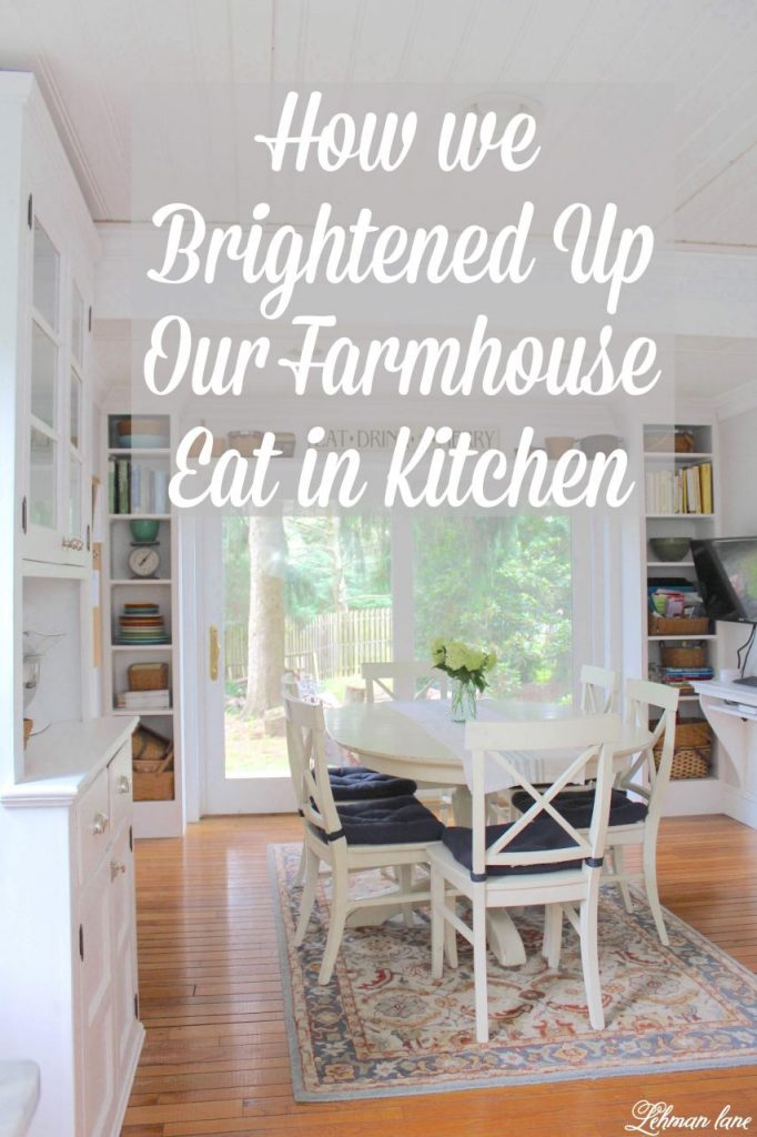 How We Brightened Up Our Farmhouse Eat in Kitchen - We have FINALLY reached the painting stage of our crazy and never ending kitchen renovation.  And... I have a new FAVORITE neutral paint color!  Our eat in kitchen has never been more organized or brighter than it is today. #eatinkitchen #farmhousekitchen http://lehmanlane.net