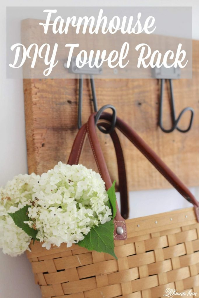 Farmhouse DIY Towel Rack - I created this beautiful, heavy duty and inexpensive DIY towel rack for our farmhouse kitchen in less than an hour.  Sharing my simple step by step instructions for how to make a towel rack of your own to hang coats, aprons, bags, baskets and towels! #towelrack #diy #upcycle http://lehmanlane.net