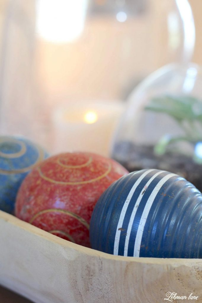 Farmhouse 4th of July Decorating is as simple as you make it. It calls for a collection of vintage & unexpected red, white & blue items from around your home, hydrangeas & of course old glory!   Sharing  ideas of how I decorate our farmhouse for free for the Independence Day! croquet balls #4thofjuly http://lehmanlane.net