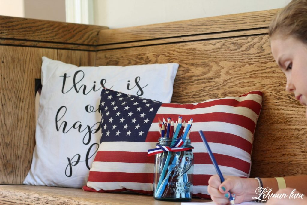 Farmhouse 4th of July Decorating is as simple as you make it. It calls for a collection of vintage & unexpected red, white & blue items from around your home, hydrangeas & of course old glory!   Sharing  ideas of how I decorate our farmhouse for free for the Independence Day!