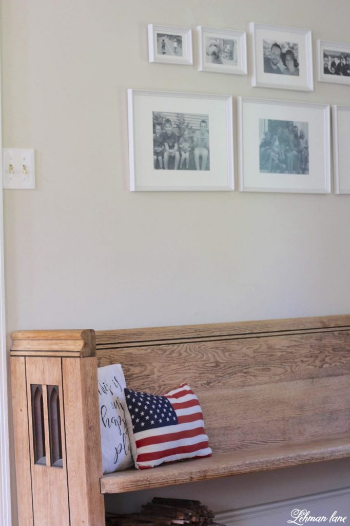Farmhouse 4th of July Decorating is as simple as you make it. It calls for a collection of vintage & unexpected red, white & blue items from around your home, hydrangeas & of course old glory!   Sharing  ideas of how I decorate our farmhouse for free for the Independence Day! church pew #4thofjuly http://lehmanlane.net