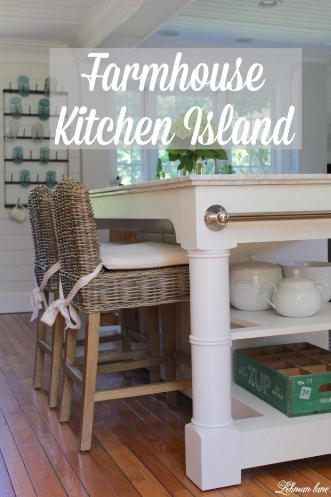 Farmhouse Kitchen Island - We found the perfect kitchen island to go along with our farmhouse kitchen.  #farmhousekitchen #kitchenisland http://lehmanlane.net