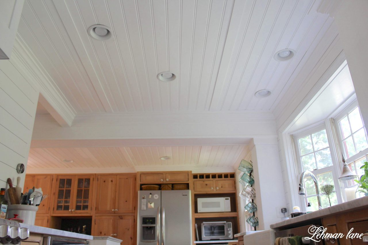 These days people are adding faux beams to their ceilings but today I am sharing why we decided to take down the faux beam and faux wood ceiling in our farmhouse kitchen.
