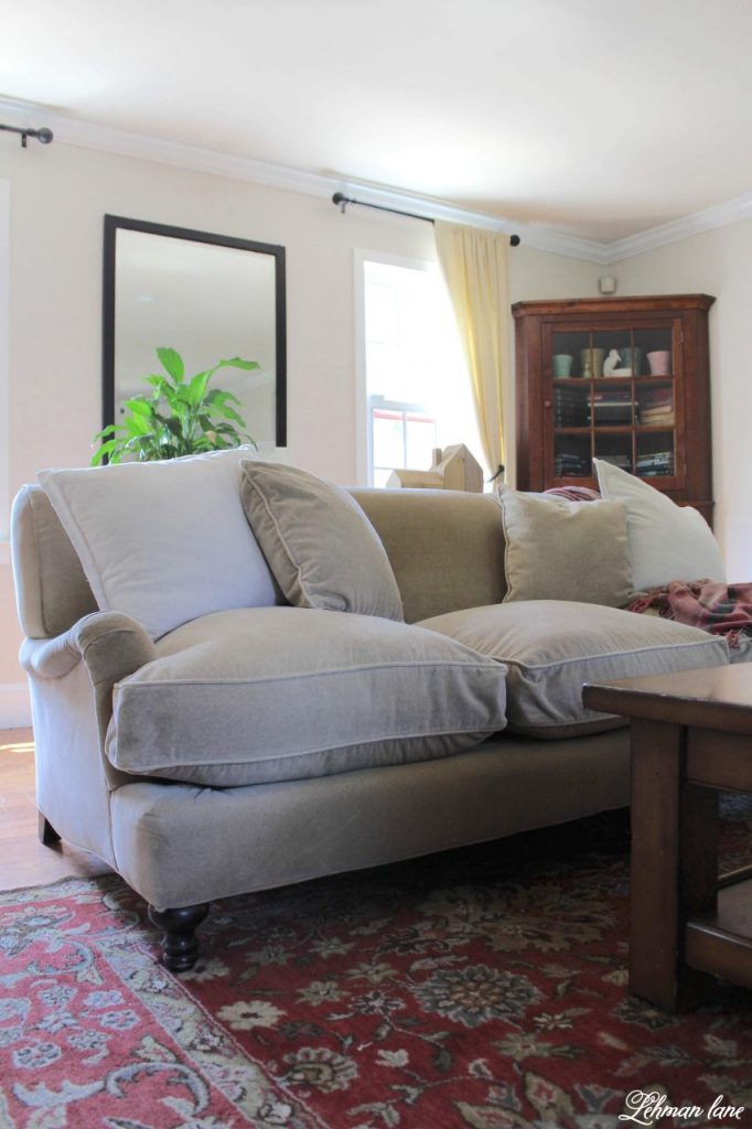 How to Re-Stuff an Old Sofa -Do you have an old sofa or couch that has started to look pretty sad and saggy?  Today, I am sharing how to re-stuff your old sofa and bring it back to life for just $25. #fixcouchcushions #restuffsofa #sofarefresh http://lehmanlane.net