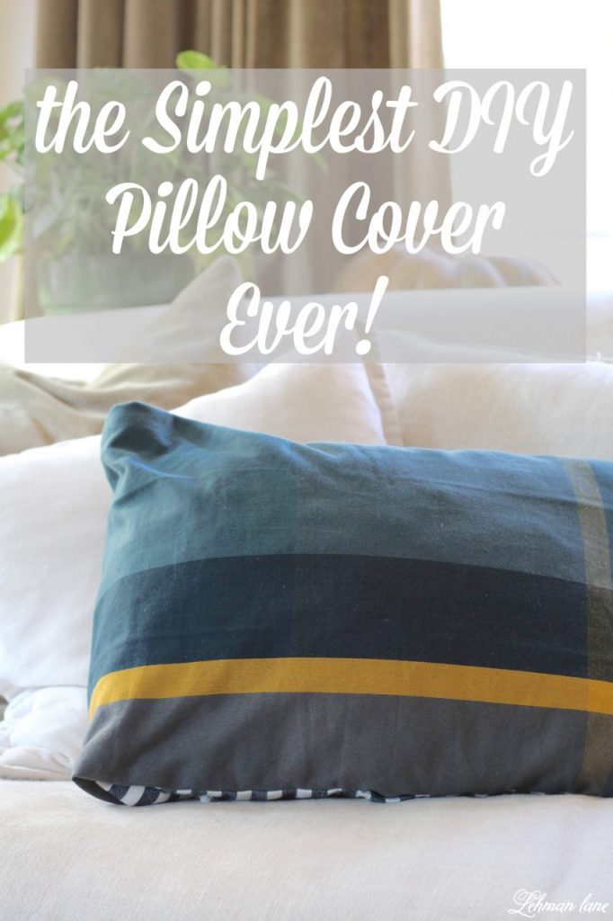 DIY Pillow Cover - With no chance of finding the matching pillow I was looking for I decided to make one of my own. My new pillow was created using 2 dish towels with the same pattern making it the simplest DIY pillow cover EVER for just $6 in only 5 mins! #diypillow #pillow http://lehmanlane.net