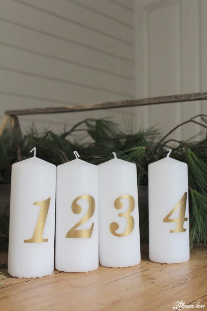 DIY Simple Advent Candle Holder - I am sharing a super simple advent candle holder with you guys. This advent candle holder was made in a few minutes with a few inexpensive supplies. #diy #advent #adventcandle http://lehmanlane.net