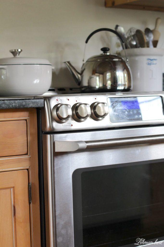 New Electric Stove & kitchen reno progress - GE cafe series in farmhouse kitchen