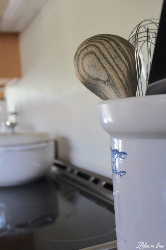 New Electric Stove & kitchen reno progress - crock & wooden spoon, farmhouse