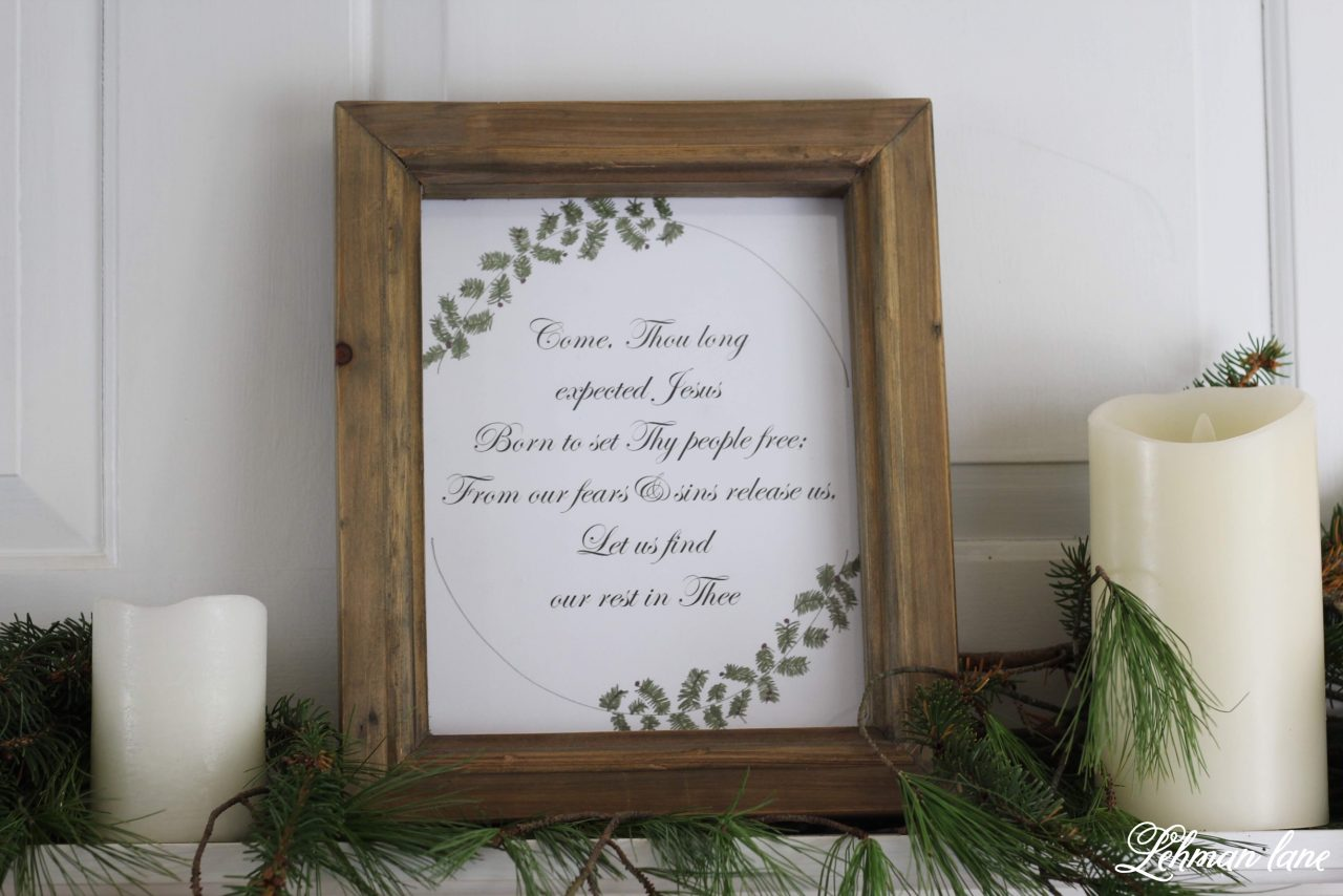 Come Thou Long Expected Jesus - Christmas Free Printable - If you like freebies, than this is your lucky day! My blogging friends & I have teamed up to bring you lots of FREE Christmas printables to decorate your homes or gifts with this Christmas! #christmasprintable #christmas http://lehmanlane