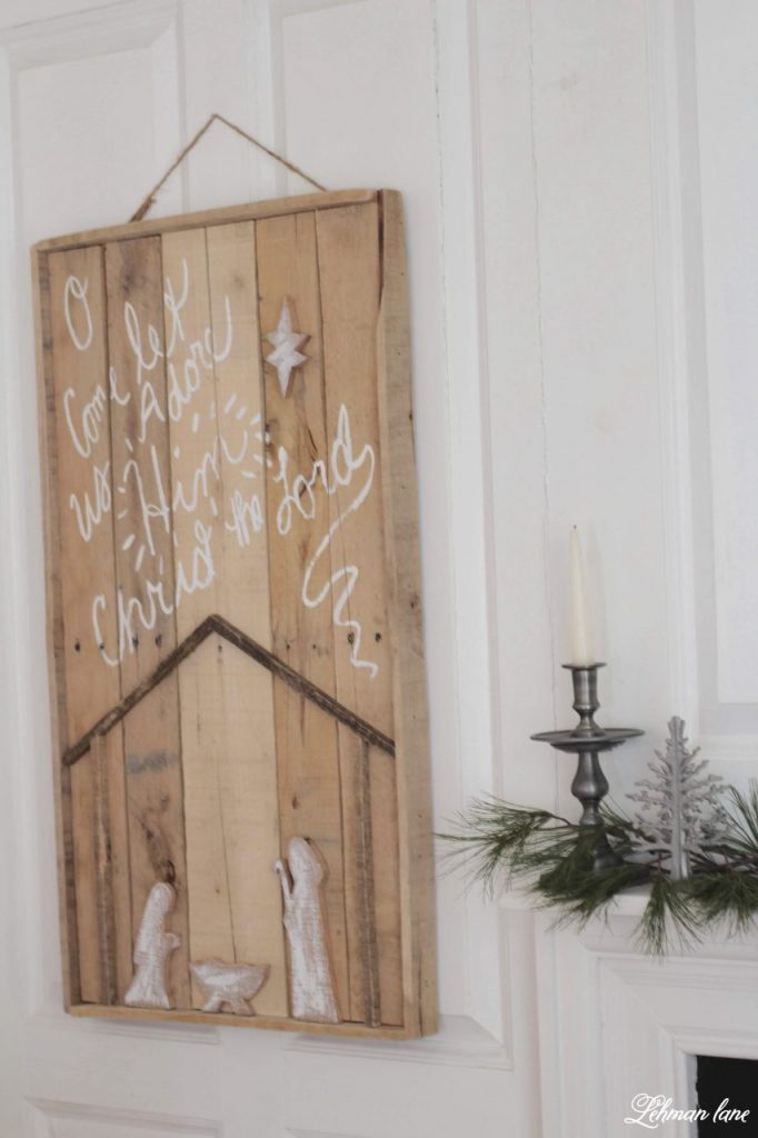 DIY Christmas Pallet Nativity Sign - I am sharing how we created our newest pallet project to decorate our farmhouse for Christmas.  We made it for FREE in less than 2 hours. #palletprojects #christmas #diy http://lehmanlane.net