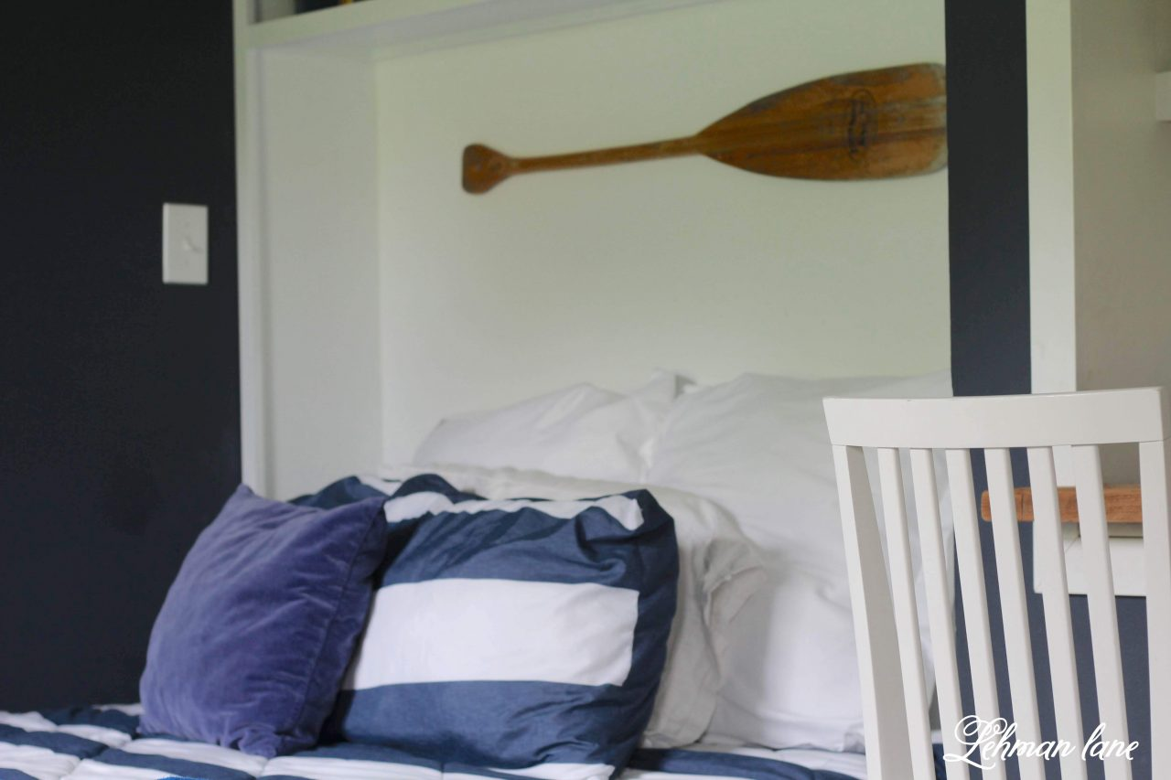 Boys Bedroom Refresh - Bennett's blue bedroom got a makeover with a queen bed, new built in desk & black out curtains! It was a simple & inexpensive update that we were able to finish in just one weekend! #boysbedroom #farmhousestyle http://lehmanlane.net