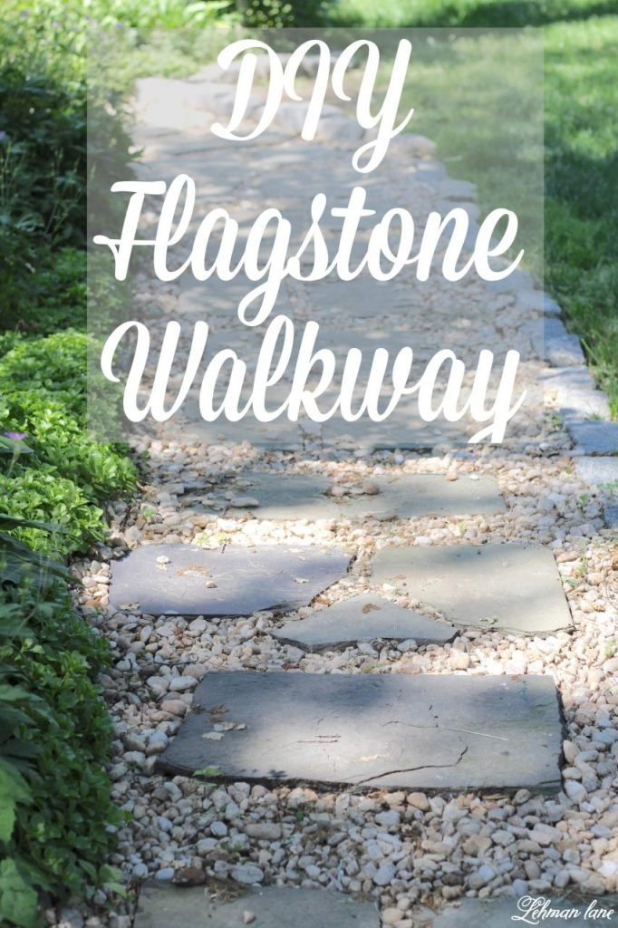 DIY Flagstone Patio - I spruced up the walkway around our farmhouse with flagstone. Although this DIY project was hard work it looks beautiful & I am so happy with how it turned out.  And it was FREE to do! #diyprojects #flagstone #hardscape http://lehmanlane.net