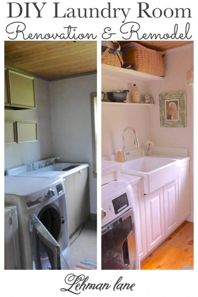 Sharing all the details of our laundry room renovation & remodel ideas on a budget with new floor, cabinets, sink, shelving & more with before & after pictures. #laundryroom #farmhouse #renovation https://lehmanlane.net