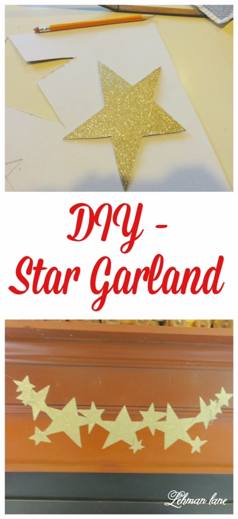 DIY Star Garland - How to make simple garland shaped like stars for the 4th of July