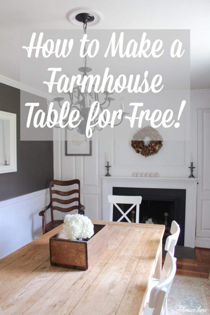Today I am sharing how to refinish a table, create a diy farmhouse table completely for free, and convert it to a restoration hardware inspired farmhouse table. #farmhousetable http://lehmanlane.net