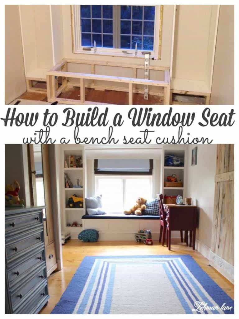 Sharing all the tips & tricks for how to build a window seat with a cushion & 2 built in bookcases for a large picture window with an attic sloped ceiling in our son's bedroom.  His new window seat & matching bookcases add a ton of character, save space in his narrow room & look fabulous! #windowseat #builtinbookcase #windowbenchseat https://lehmanlane.net