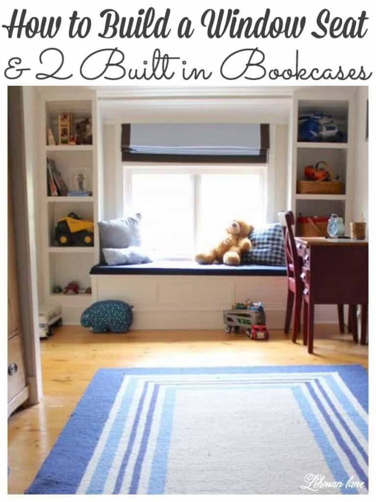 how to build a window seat & built in bookcases