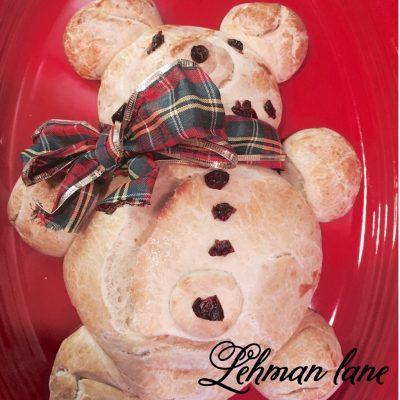 Christmas Teddy Bear Bread