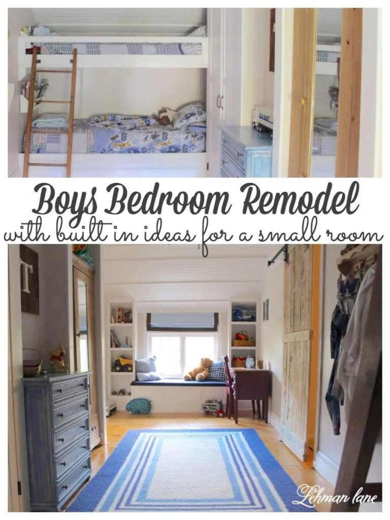 Boys Bedroom Remodel. Sharing all of our space saving built in ideas for ourson's bedroom including DIY bookcases, window seat, closets & bunk beds. #boysbedroom #diybunkbeds #boysbedroomideas #bunkbedsforboysroom https://lehmanlane.net