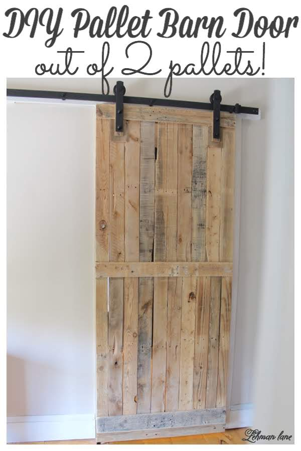 Come check out the Sliding Pallet Barn Door We Made using only 2 Pallets! It brings so much character to our farmhouse without taking up any floor space! #palletprojects #barndoor #palletdoor #farmhousedecor  https://lehmanlane.net