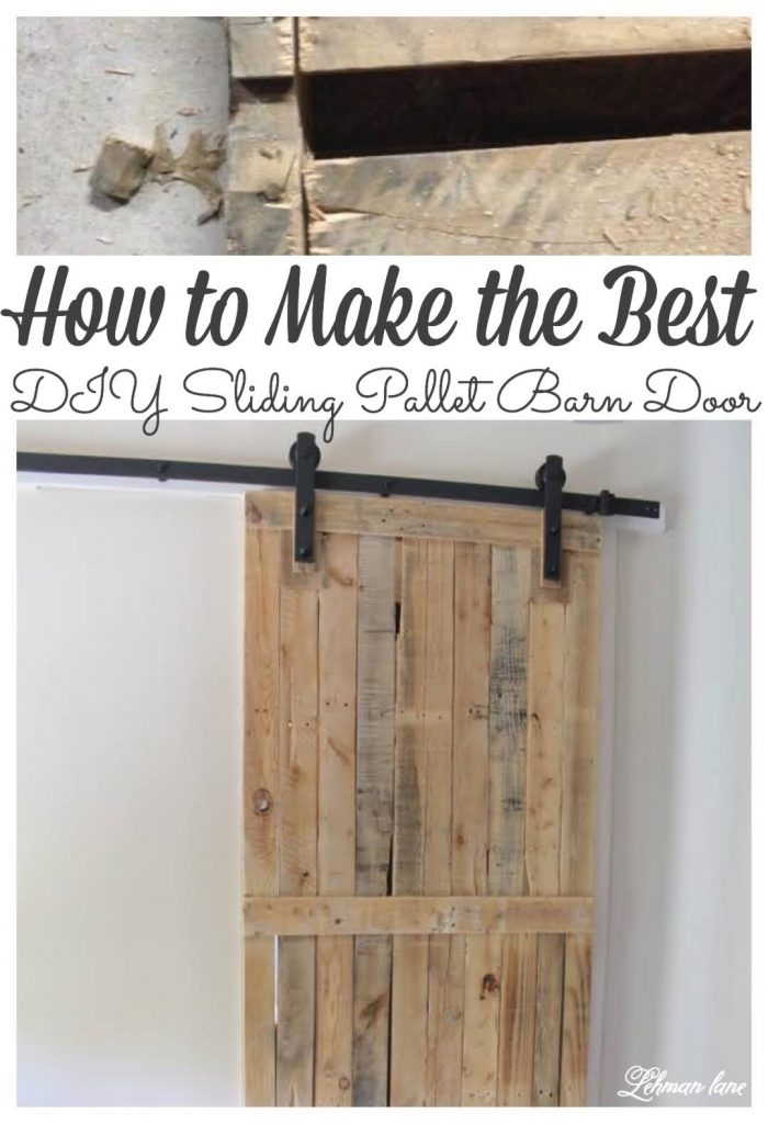 A DIY pallet sliding barn door adds a lot of character, saves space, looks amazing, and is cheap and easy to make. Our DIY Pallet Sliding Barn is holding strong & looks fantastic after 5 years now.  Learn how to build it and build one for your home today!  #palletdoor #palletprojects #farmhousedecor #barndoor https://lehmanlane.net