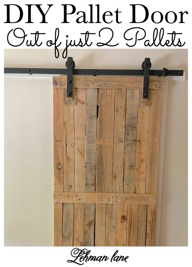 Come check out the Sliding Pallet Barn Door We Made using only 2 Pallets! It brings so much character to our farmhouse without taking up any floor space! #barndoor #palletfurniture #palletprojects #palletdoor https://lehmanlane.net