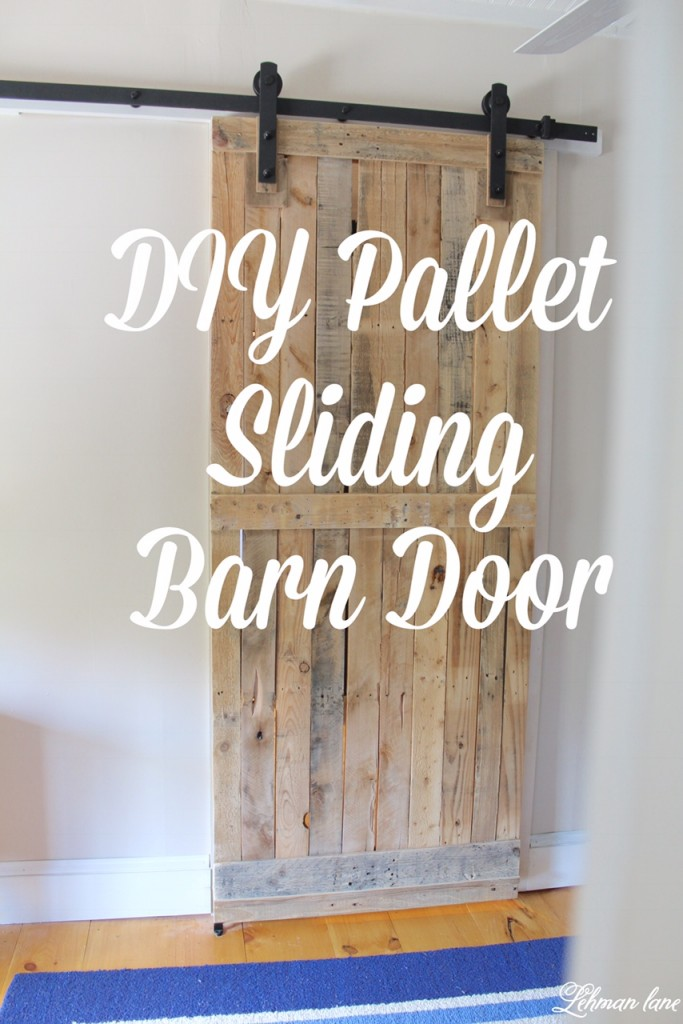 Come check out the Sliding Pallet Barn Door We Made using only 2 Pallets! It brings so much character to our farmhouse without taking up any floor space! #palletprojects #palletdoor https://lehmanlane.net