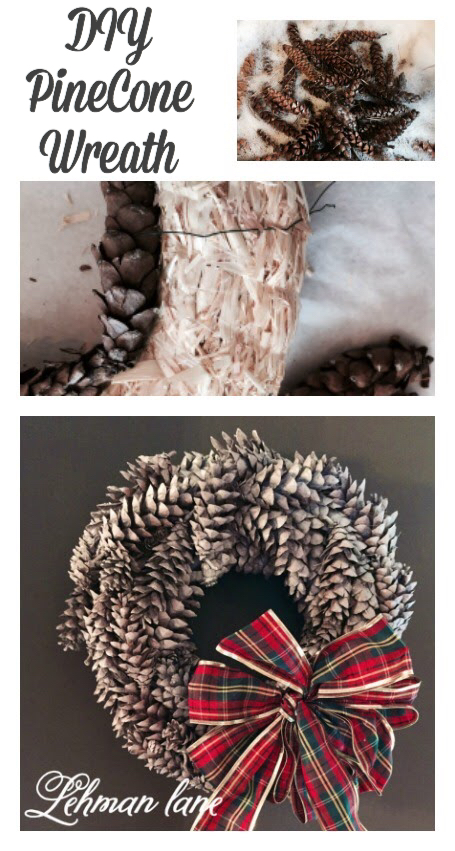 Ever wonder how to make a pine Cone Wreath? It's pretty simple & getting the pine cones wreath ready makes your house smell amazing in the wintertime!!! #pinecone #christmaswreath #diywreath #winterdecor https://lehmanlane.net