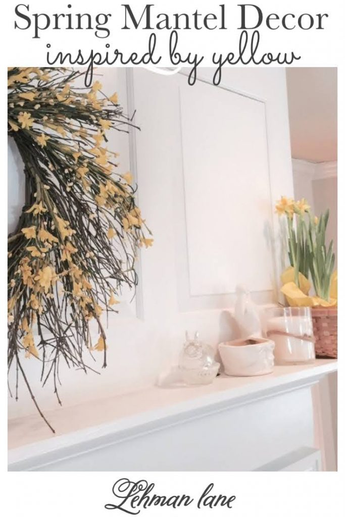 Sharing all the details of how I decorated my farmhouse fireplace Spring Mantel with pops of my favorite spring color yellow, pictures included! #spring #fireplacemanteldecor #yellow https://lehmanlane.net
