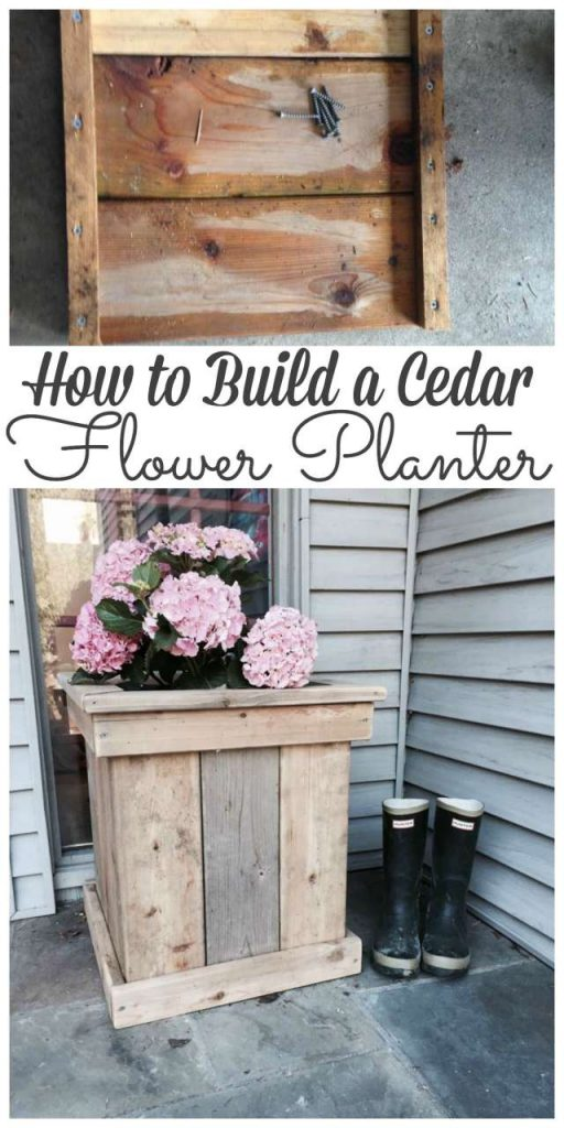 Sharing how we built a cedar flower planter out of cedar scrap wood after building a fence. Stop by to see how we did it #planter #flowerplanter #diy http://lehmanlane.net