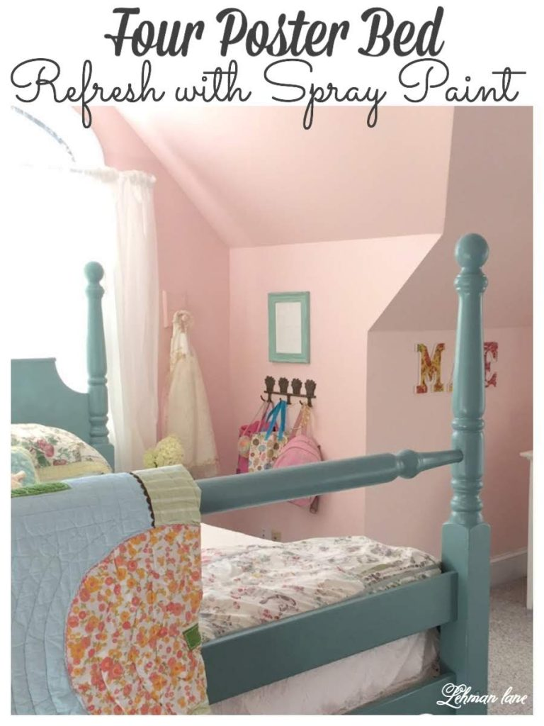 We transformed out our old outdated 4 poster bed into a pretty blue bed perfect for a girl's room with just a few cans of spray paint! #paintedfurniture #furnituremakeover #atticbedroomideasangledceilings https://lehmanlane.net
