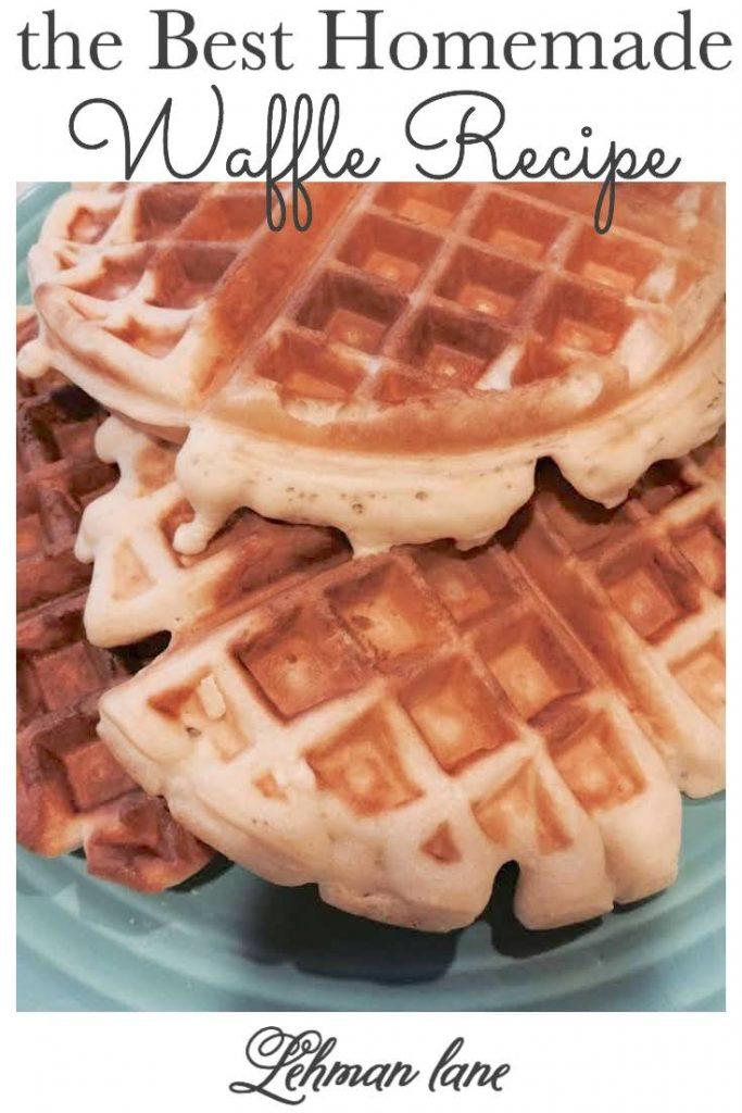 Sharing the BEST waffle recipe from scratch, my Nana Kay's easy & delicious homemade waffles recipe! #waffles #breakfast https://lehmanlane.net