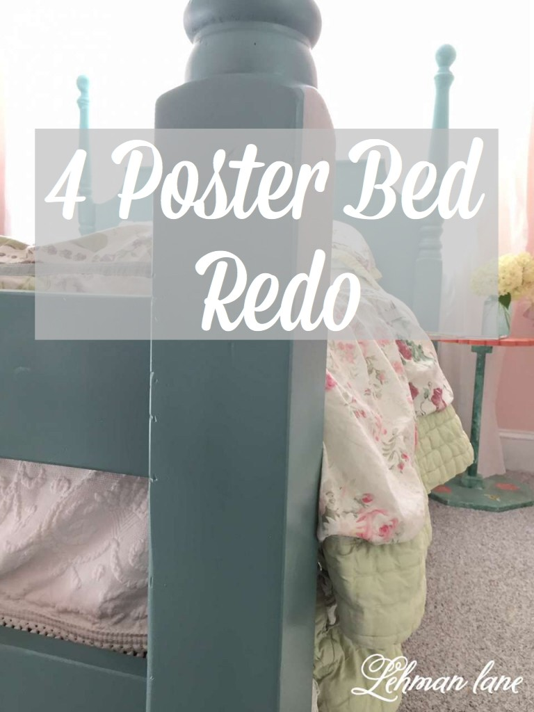 We transformed out our old outdated 4 poster bed into a pretty blue bed perfect for a girl's room with just a few cans of spray paint! #spraypaint #furnitureredo https://lehmanlane.net