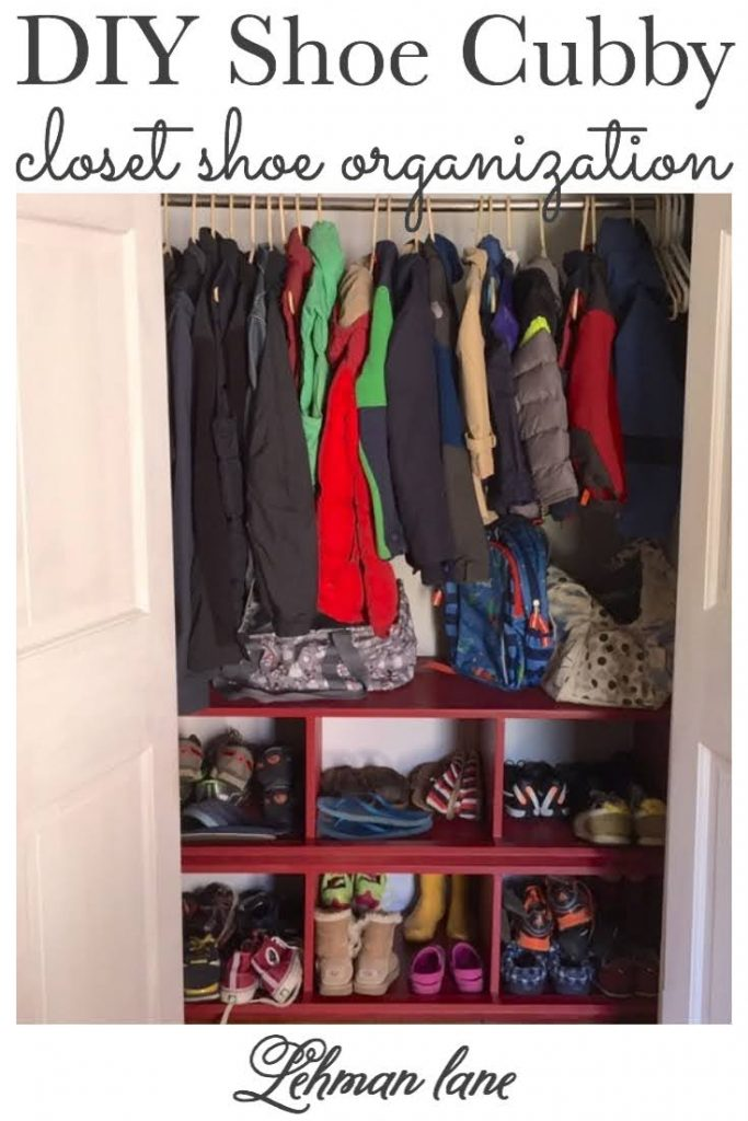 Sharing how we built a DIY closet shoe cubby for shoe storage in our entryway closet & help keep our family of 6 & their shoes organized with instructions & step by step pictures for less than $75! #shoestorage #shoerack #shoecloset #closetstorage #closetorganization  https://lehmanlane.net
