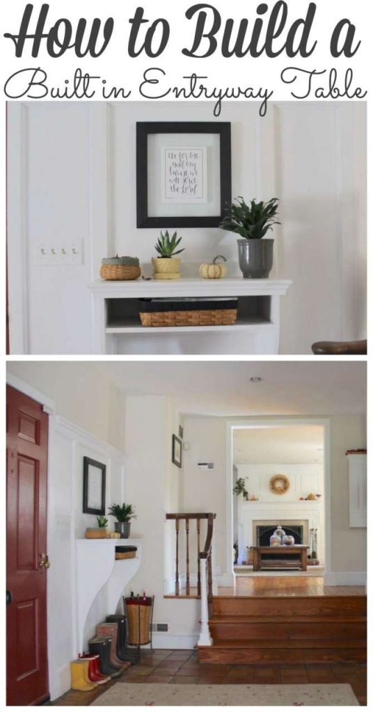 How to Build a DIY Entryway Table. Perfect for Saving floor space in your foyer or entryway #diy #builtins #entryway http://lehmanlane.net
