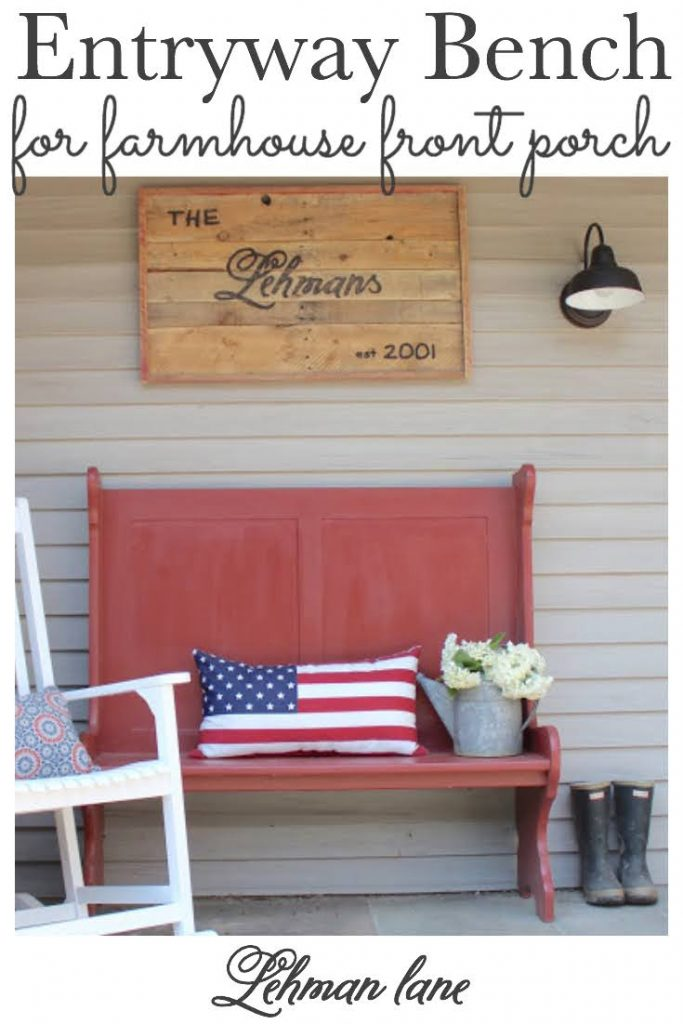 Sharing all the details of finding & refinishing the PERFECT farmhouse entryway bench for our small front porch with pictures on a budget. #entrywaybench #frontporch