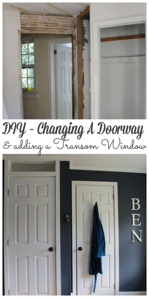 Changing a DOorway and adding a transom window #farmhousedoor #doormakeover https://lehmanlane.net