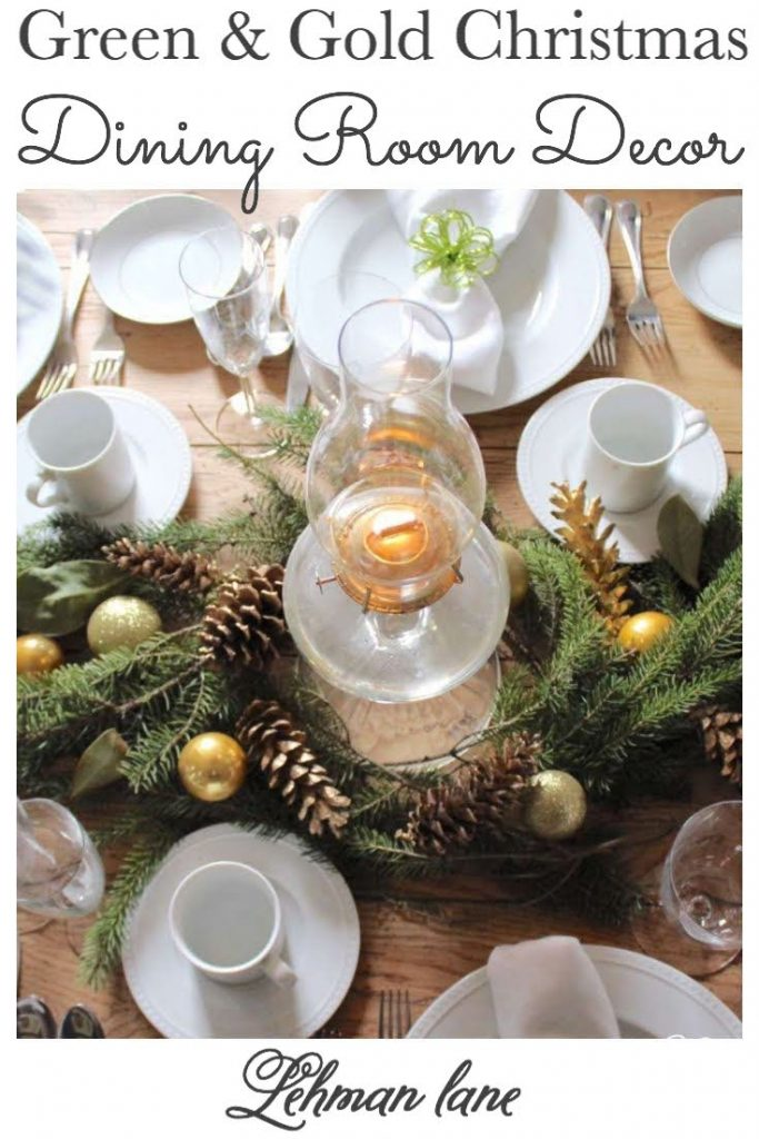 Sharing my Elegant Green & Gold Christmas Dining Room Decor with Christmas decoration ideas like an evergreen chandelier & Christmas table evergreen centerpiece with gold accents on a budget in just 1 hour. #christmas #christmasdecor #christmastablesettings #christmasfireplace #christmastable #farmhouse https://lehmanlane.net