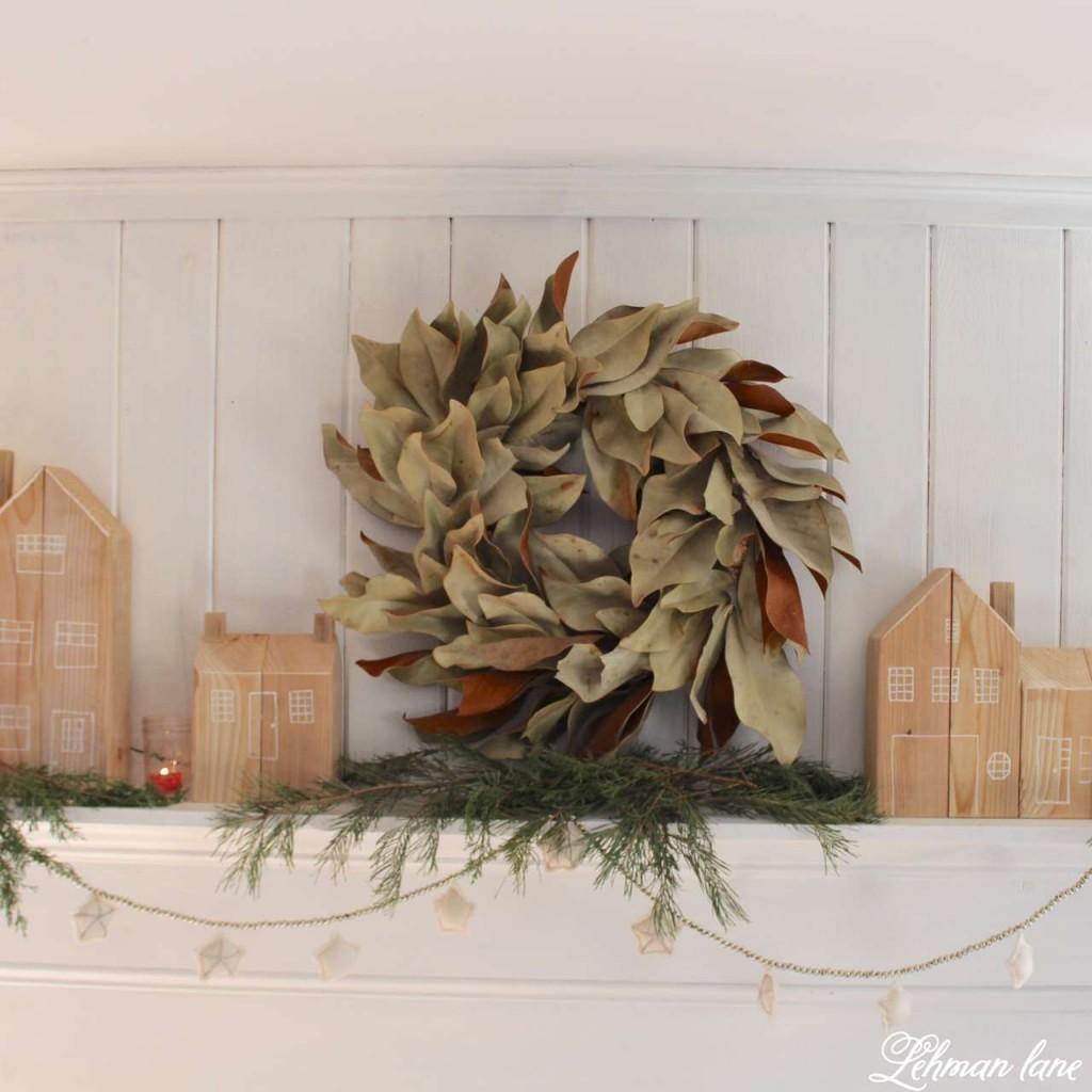 DIY - Cedar post houses for Christmas - Home for Christmas Hop / Magnolia Wreath