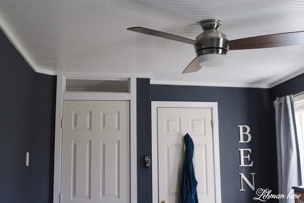 See how we added a bead board ceiling to our son's room #beadboard #diy https://lehmanlane.net
