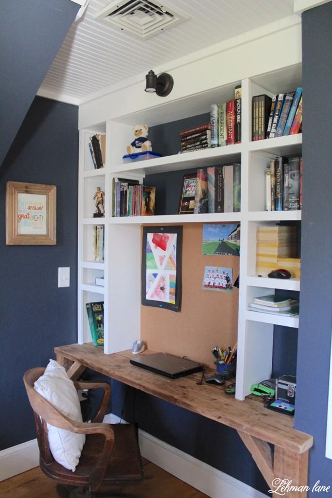 DIY - built in desk- Boys bedroom #diydesk #builtins https://lehmanlane.net